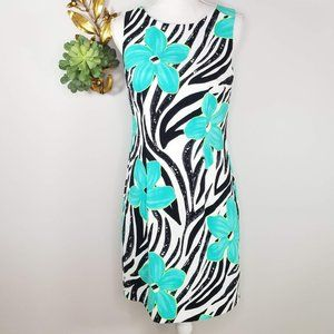 Alyx Turquoise Floral Sheath Dress 8 Super Cute